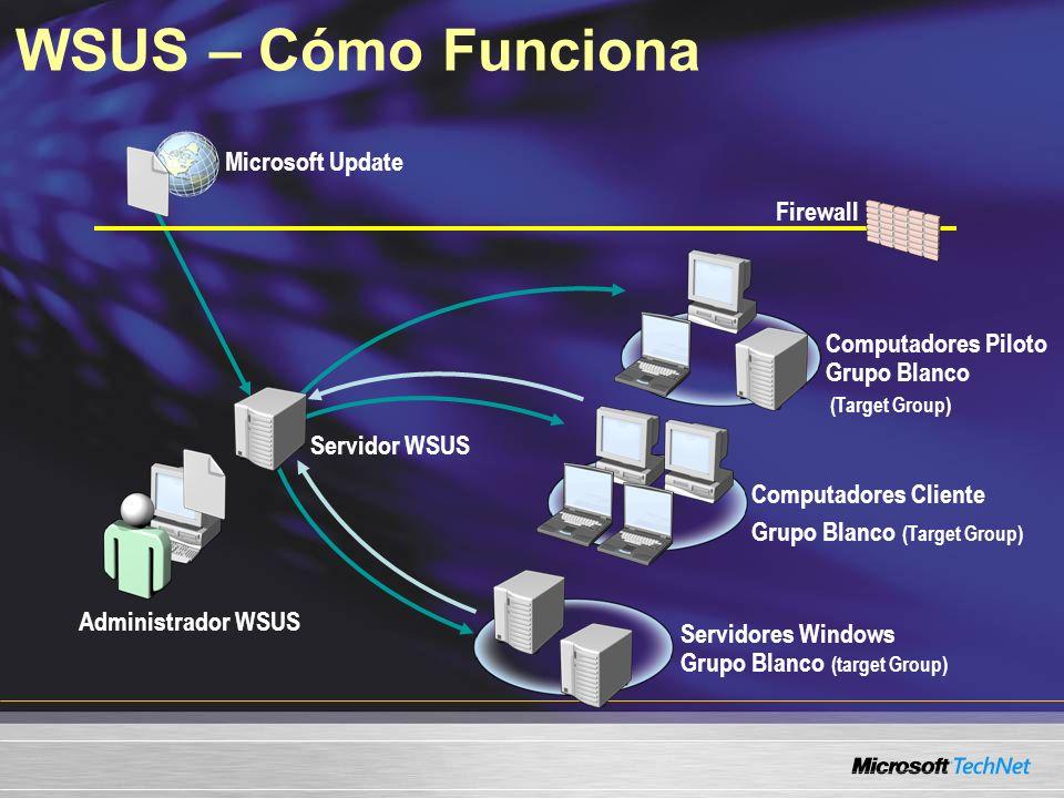 WSUS – Cómo Funciona Servidor WSUS Microsoft Update Computadores Cliente Grupo Blanco (Target Group) Servidores Windows Grupo Blanco (target Group) Ad