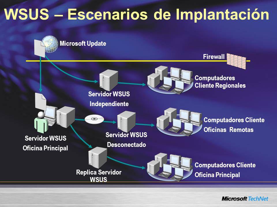 WSUS – Escenarios de Implantación Servidor WSUS Oficina Principal Servidor WSUS Desconectado Computadores Cliente Oficinas Remotas Computadores Client