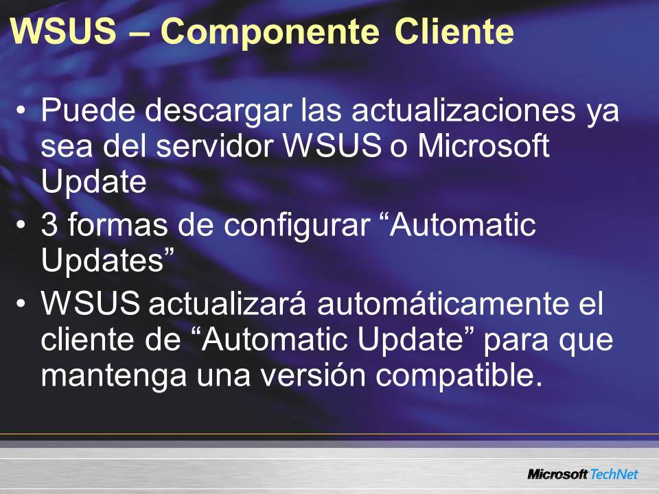 WSUS – Componente Cliente Puede descargar las actualizaciones ya sea del servidor WSUS o Microsoft Update 3 formas de configurar Automatic Updates WSU