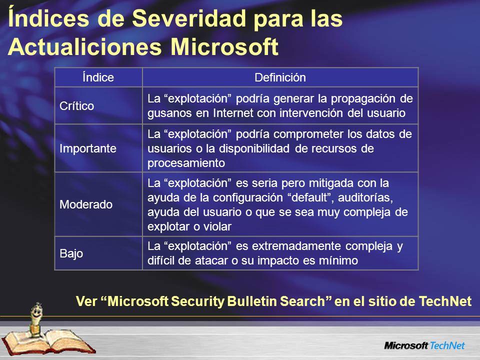 Índices de Severidad para las Actualiciones Microsoft ÍndiceDefinición Crítico La explotación podría generar la propagación de gusanos en Internet con