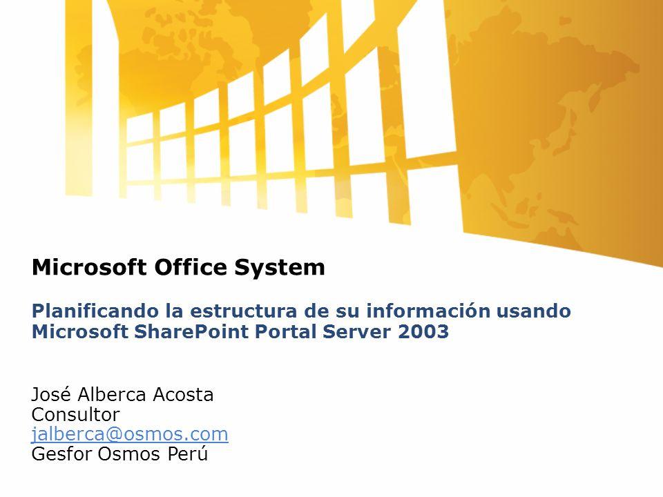 Microsoft Office System Planificando la estructura de su información usando Microsoft SharePoint Portal Server 2003 José Alberca Acosta Consultor jalberca@osmos.com Gesfor Osmos Perú