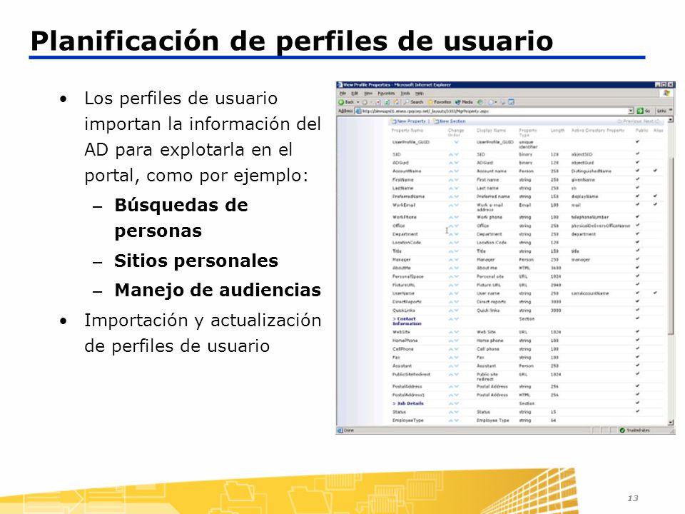13 Planificación de perfiles de usuario Los perfiles de usuario importan la información del AD para explotarla en el portal, como por ejemplo: – Búsquedas de personas – Sitios personales – Manejo de audiencias Importación y actualización de perfiles de usuario