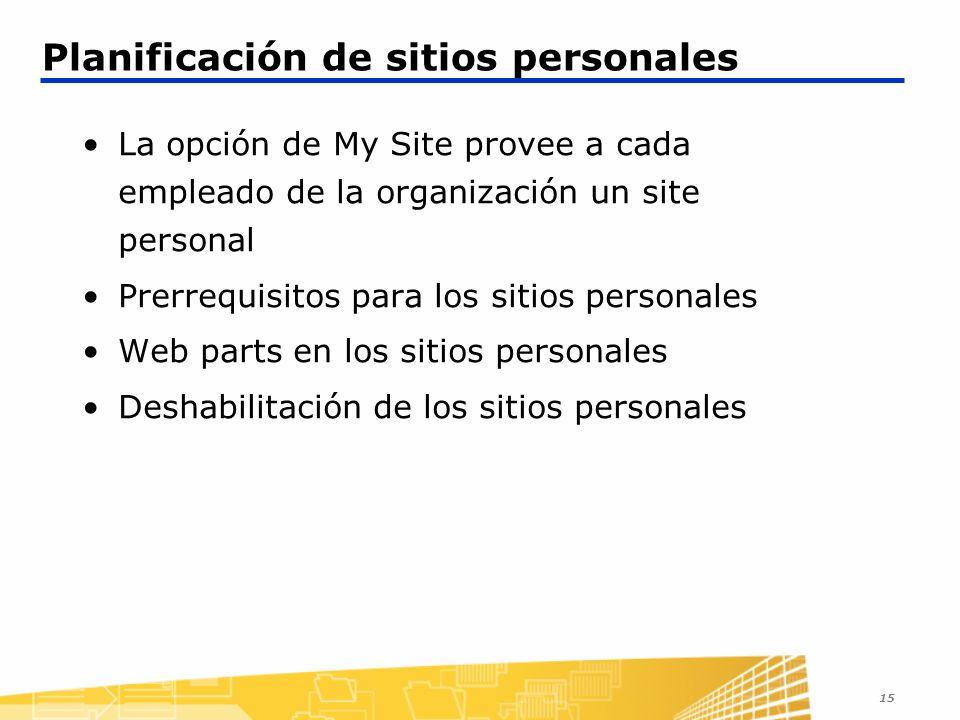 15 Planificación de sitios personales La opción de My Site provee a cada empleado de la organización un site personal Prerrequisitos para los sitios personales Web parts en los sitios personales Deshabilitación de los sitios personales