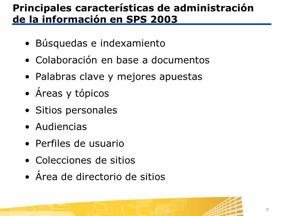 3 Principales características de administración de la información en SPS 2003 Búsquedas e indexamiento Colaboración en base a documentos Palabras clave y mejores apuestas Áreas y tópicos Sitios personales Audiencias Perfiles de usuario Colecciones de sitios Área de directorio de sitios