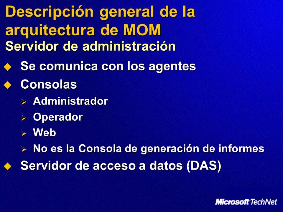 Se comunica con los agentes Se comunica con los agentes Consolas Consolas Administrador Administrador Operador Operador Web Web No es la Consola de generación de informes No es la Consola de generación de informes Servidor de acceso a datos (DAS) Servidor de acceso a datos (DAS) Descripción general de la arquitectura de MOM Servidor de administración