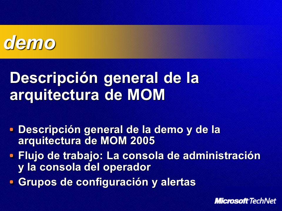 Descripción general de la arquitectura de MOM Descripción general de la arquitectura de MOM Descripción general de la demo y de la arquitectura de MOM 2005 Flujo de trabajo: La consola de administración y la consola del operador Grupos de configuración y alertas demo