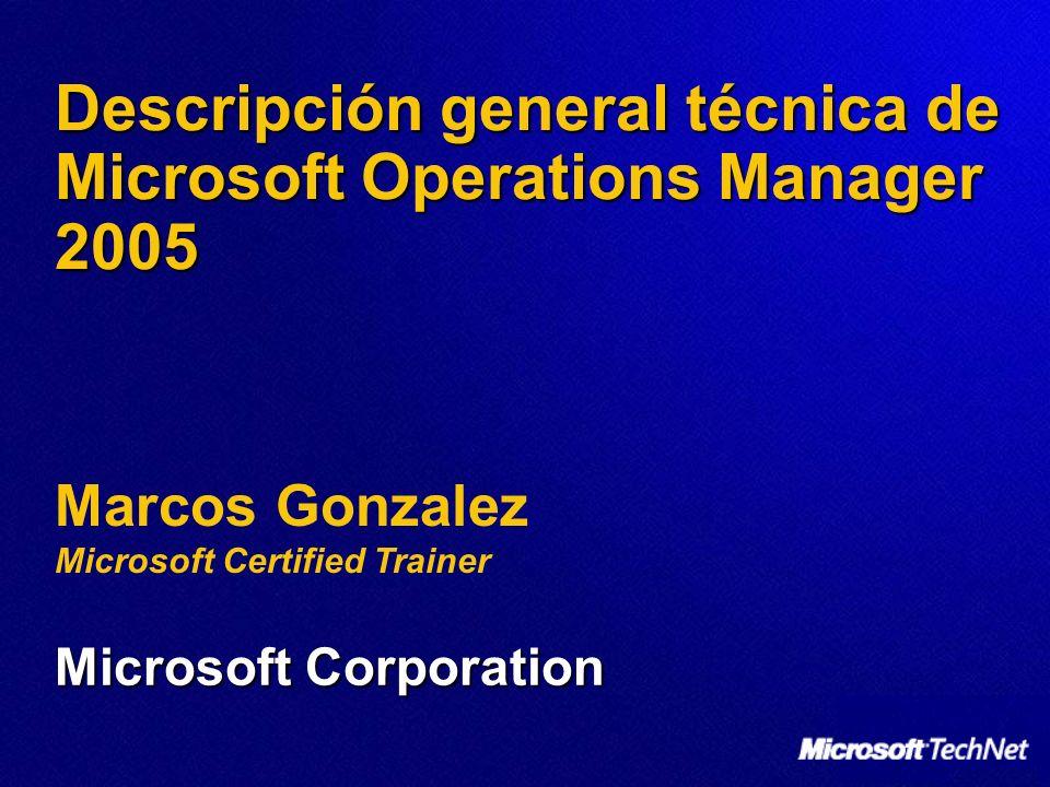 Marcos Gonzalez Microsoft Certified Trainer Descripción general técnica de Microsoft Operations Manager 2005 Microsoft Corporation