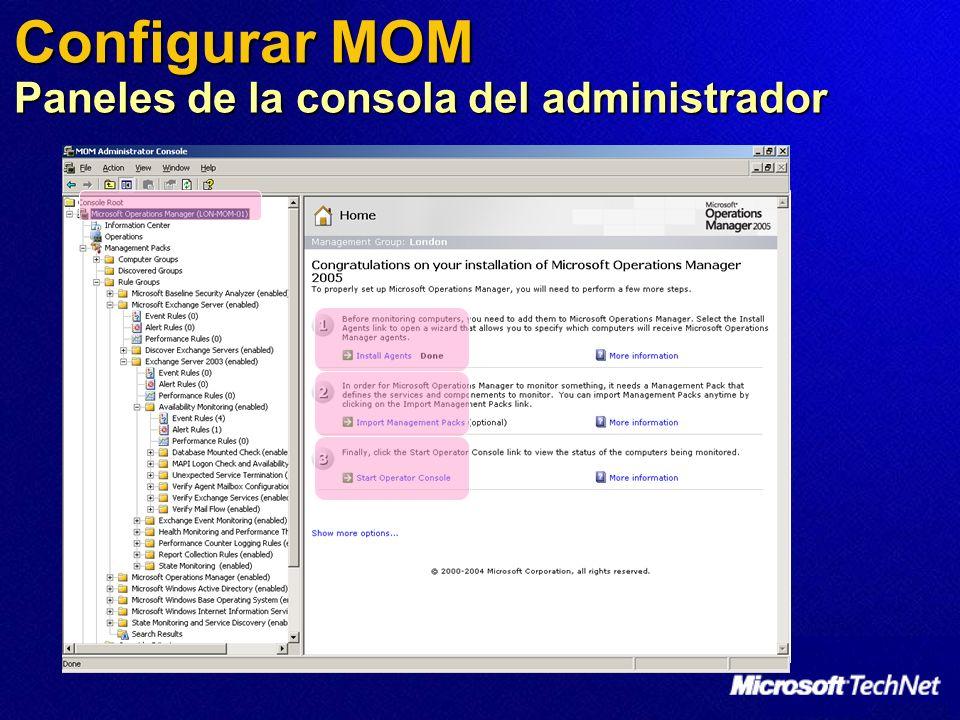 Configurar MOM Paneles de la consola del administrador