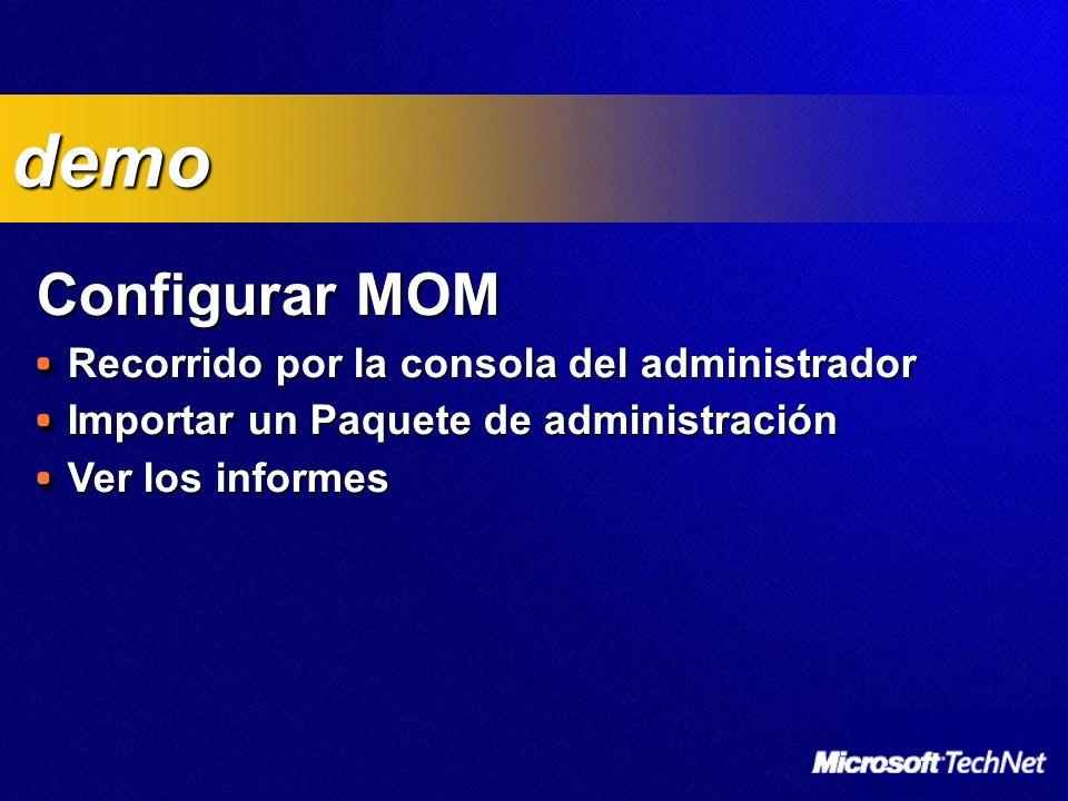 Configurar MOM Recorrido por la consola del administrador Importar un Paquete de administración Ver los informes demo