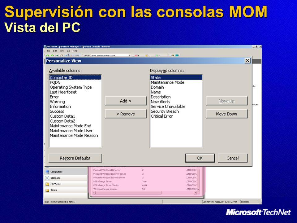 Supervisión con las consolas MOM Vista del PC