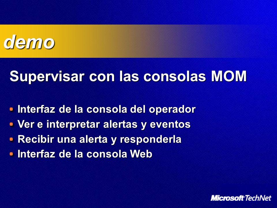 Supervisar con las consolas MOM Interfaz de la consola del operador Ver e interpretar alertas y eventos Recibir una alerta y responderla Interfaz de la consola Web demo