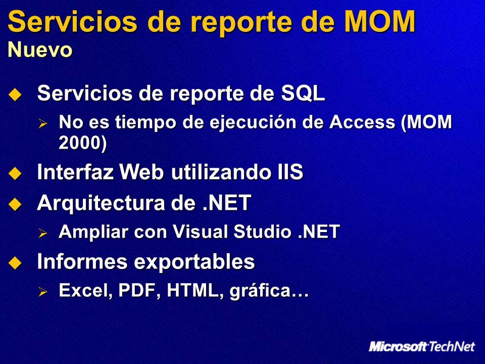 Servicios de reporte de MOM Nuevo Servicios de reporte de SQL Servicios de reporte de SQL No es tiempo de ejecución de Access (MOM 2000) No es tiempo de ejecución de Access (MOM 2000) Interfaz Web utilizando IIS Interfaz Web utilizando IIS Arquitectura de.NET Arquitectura de.NET Ampliar con Visual Studio.NET Ampliar con Visual Studio.NET Informes exportables Informes exportables Excel, PDF, HTML, gráfica… Excel, PDF, HTML, gráfica…