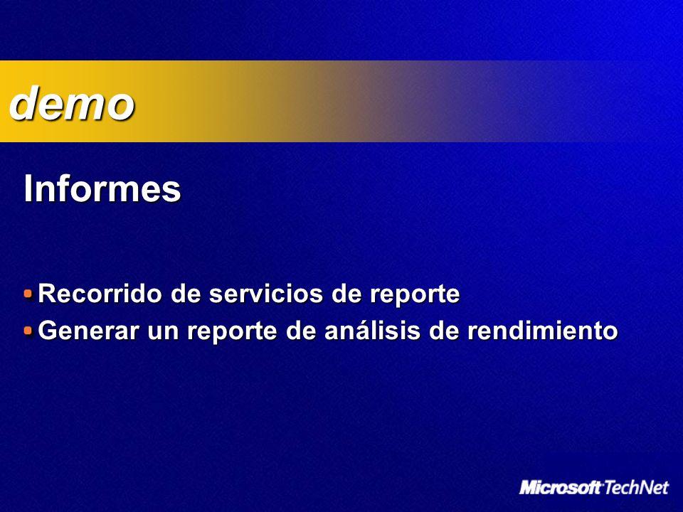 Informes Recorrido de servicios de reporte Generar un reporte de análisis de rendimiento demo