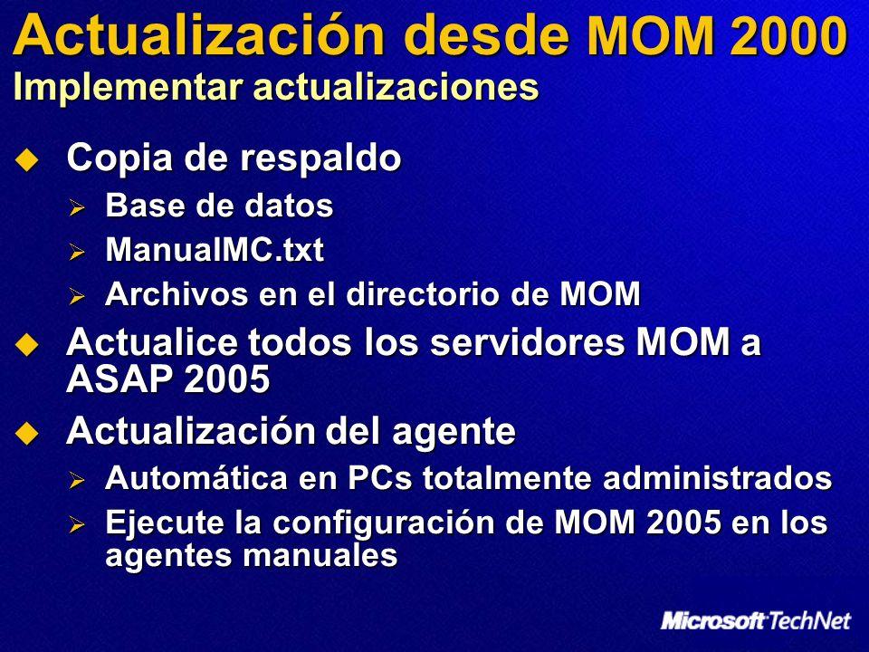 Actualización desde MOM 2000 Implementar actualizaciones Copia de respaldo Copia de respaldo Base de datos Base de datos ManualMC.txt ManualMC.txt Archivos en el directorio de MOM Archivos en el directorio de MOM Actualice todos los servidores MOM a ASAP 2005 Actualice todos los servidores MOM a ASAP 2005 Actualización del agente Actualización del agente Automática en PCs totalmente administrados Automática en PCs totalmente administrados Ejecute la configuración de MOM 2005 en los agentes manuales Ejecute la configuración de MOM 2005 en los agentes manuales