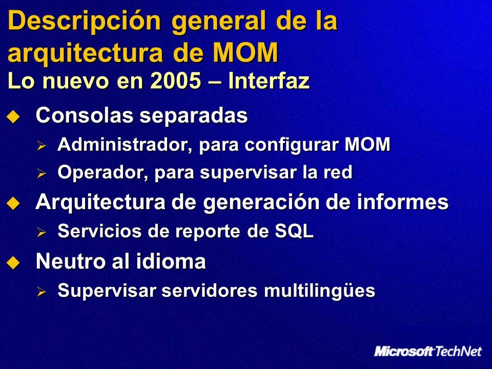 Descripción general de la arquitectura de MOM Lo nuevo en 2005 – Interfaz Consolas separadas Consolas separadas Administrador, para configurar MOM Administrador, para configurar MOM Operador, para supervisar la red Operador, para supervisar la red Arquitectura de generación de informes Arquitectura de generación de informes Servicios de reporte de SQL Servicios de reporte de SQL Neutro al idioma Neutro al idioma Supervisar servidores multilingües Supervisar servidores multilingües