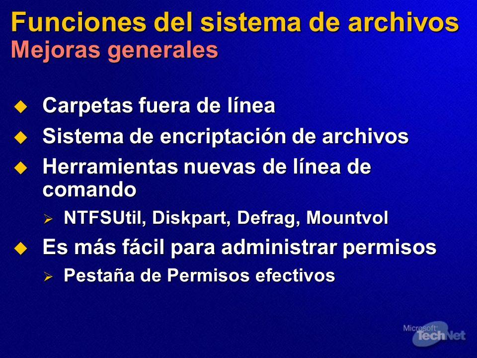 Funciones del sistema de archivos Mejoras generales Carpetas fuera de línea Carpetas fuera de línea Sistema de encriptación de archivos Sistema de enc