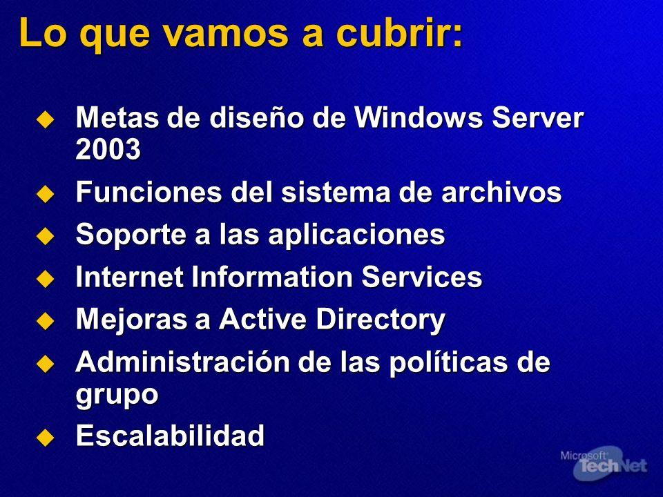 Lo que vamos a cubrir: Metas de diseño de Windows Server 2003 Metas de diseño de Windows Server 2003 Funciones del sistema de archivos Funciones del s