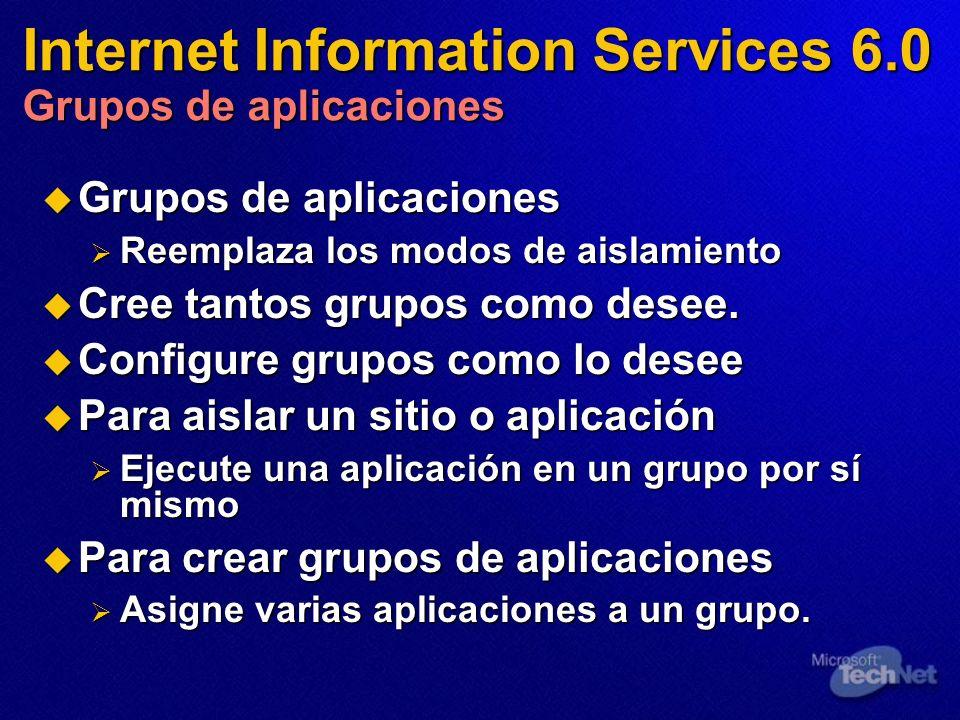 Internet Information Services 6.0 Grupos de aplicaciones Grupos de aplicaciones Grupos de aplicaciones Reemplaza los modos de aislamiento Reemplaza lo