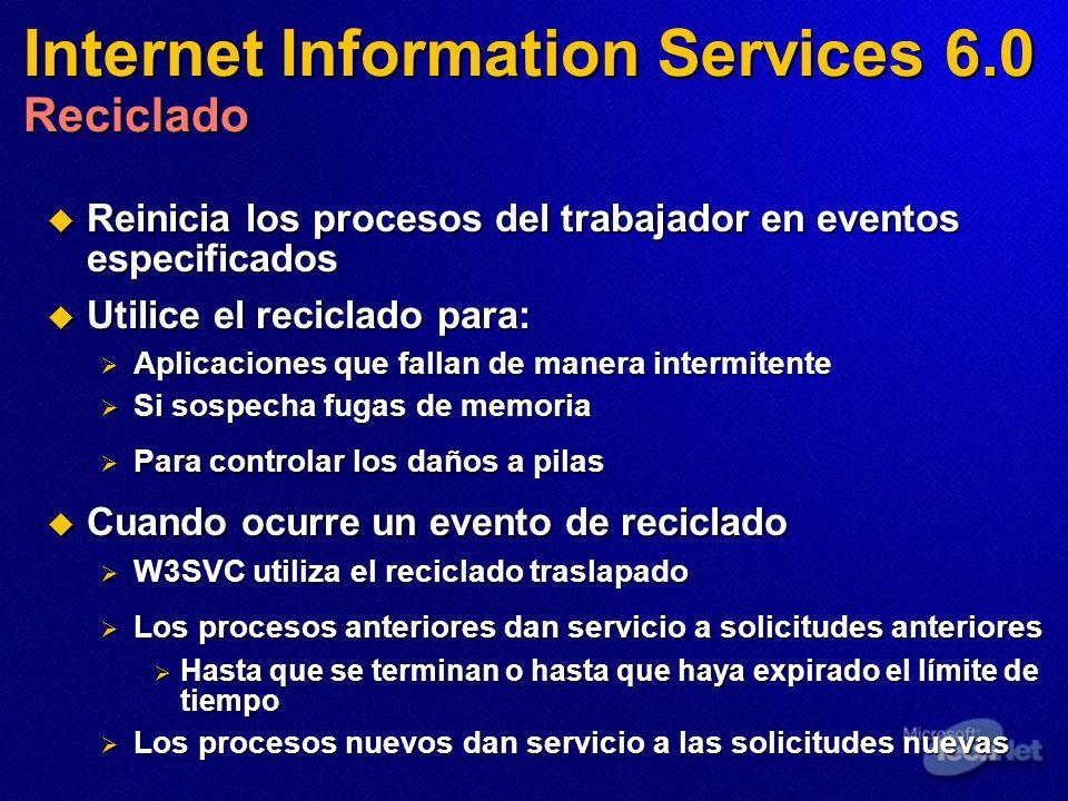 Internet Information Services 6.0 Reciclado Reinicia los procesos del trabajador en eventos especificados Reinicia los procesos del trabajador en even