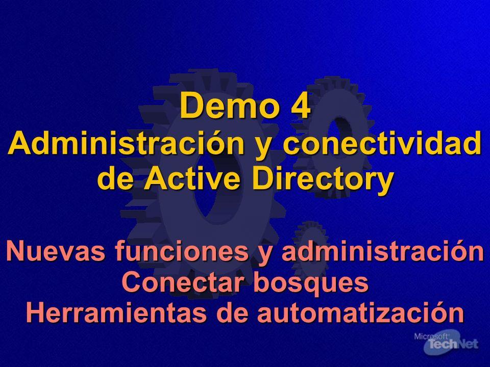 Demo 4 Administración y conectividad de Active Directory Nuevas funciones y administración Conectar bosques Herramientas de automatización