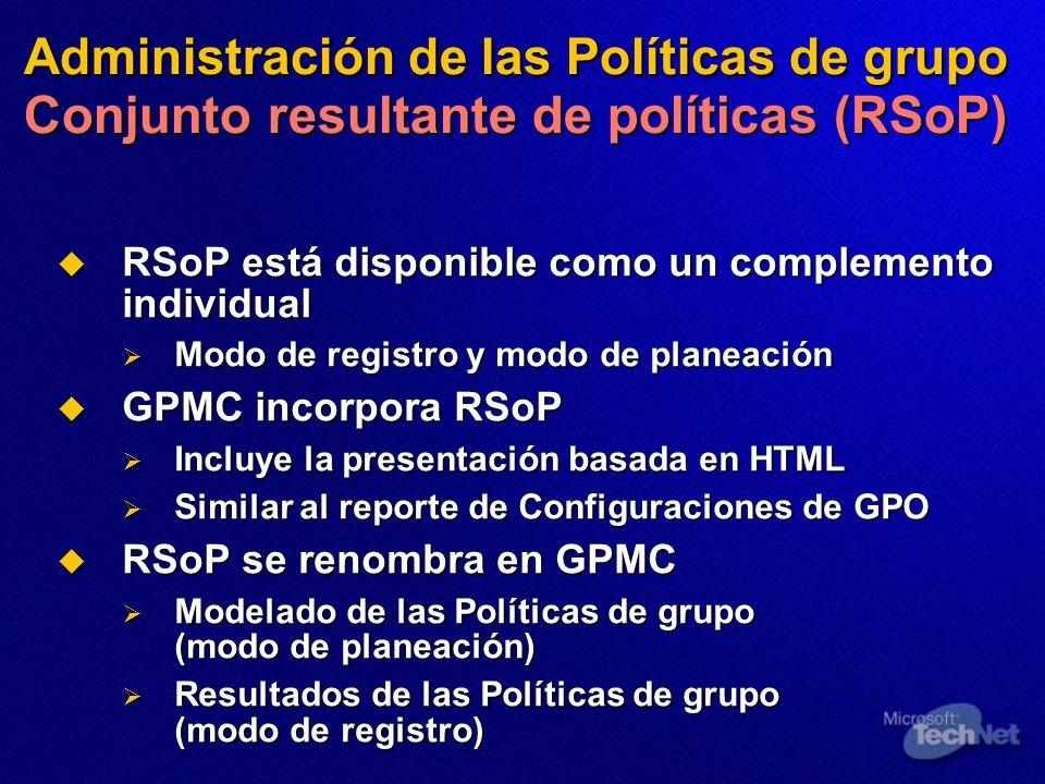 Administración de las Políticas de grupo Conjunto resultante de políticas (RSoP) RSoP está disponible como un complemento individual RSoP está disponi