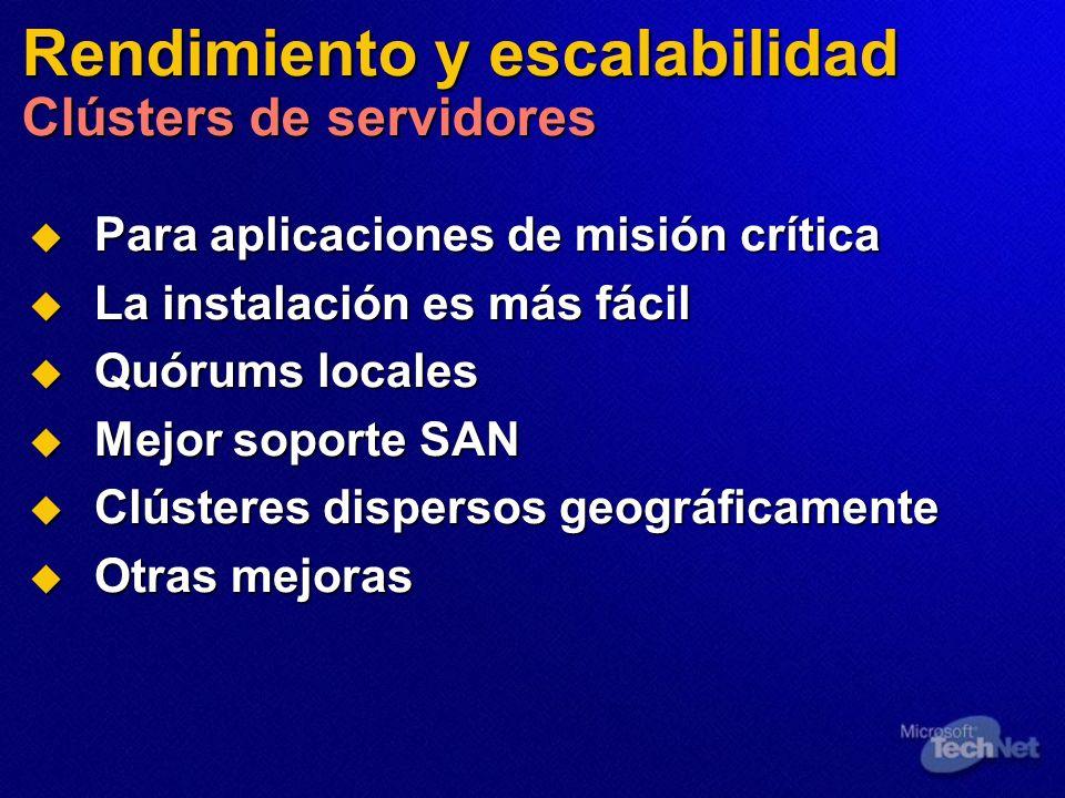 Rendimiento y escalabilidad Clústers de servidores Para aplicaciones de misión crítica Para aplicaciones de misión crítica La instalación es más fácil