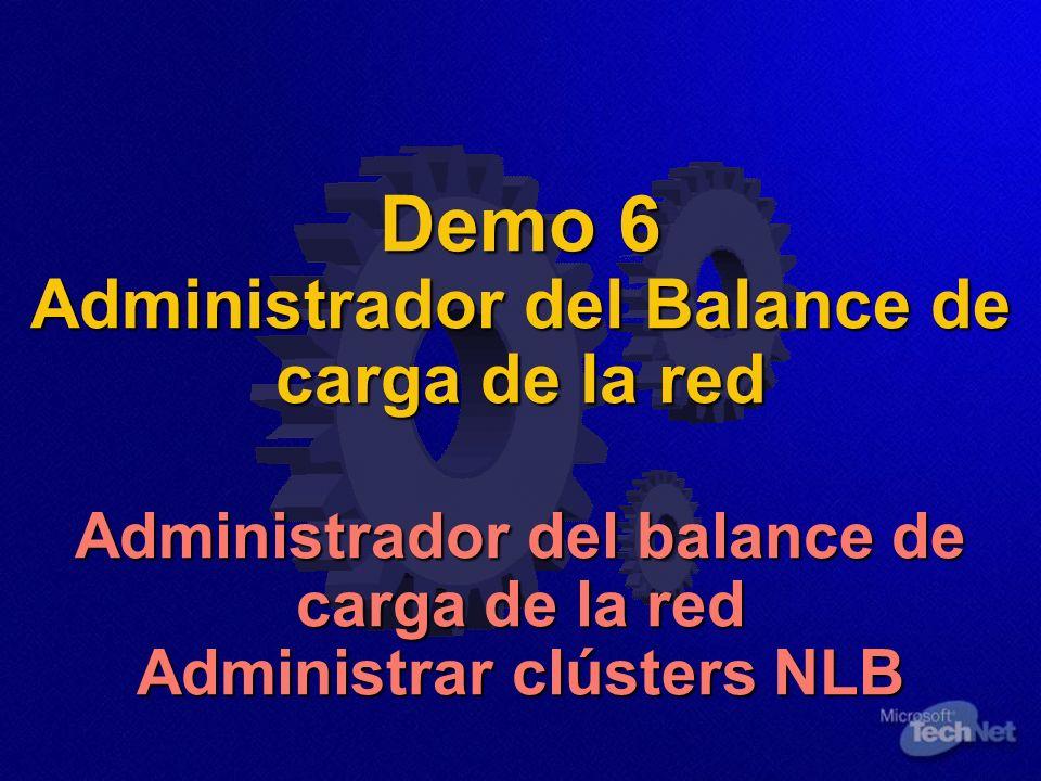 Demo 6 Administrador del Balance de carga de la red Administrador del balance de carga de la red Administrar clústers NLB