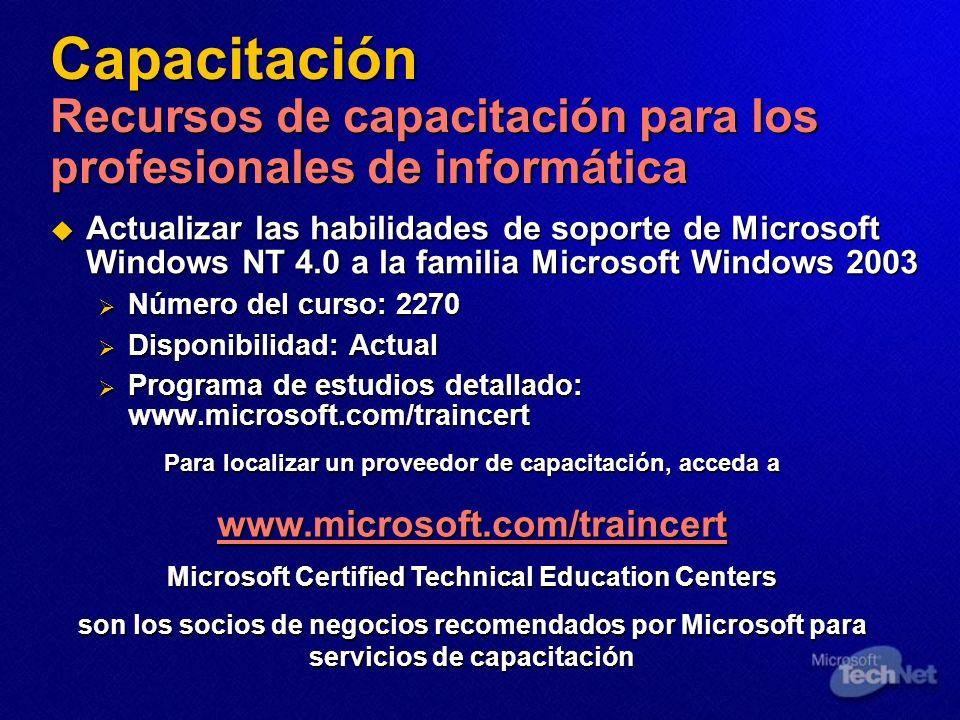 Capacitación Recursos de capacitación para los profesionales de informática Actualizar las habilidades de soporte de Microsoft Windows NT 4.0 a la fam