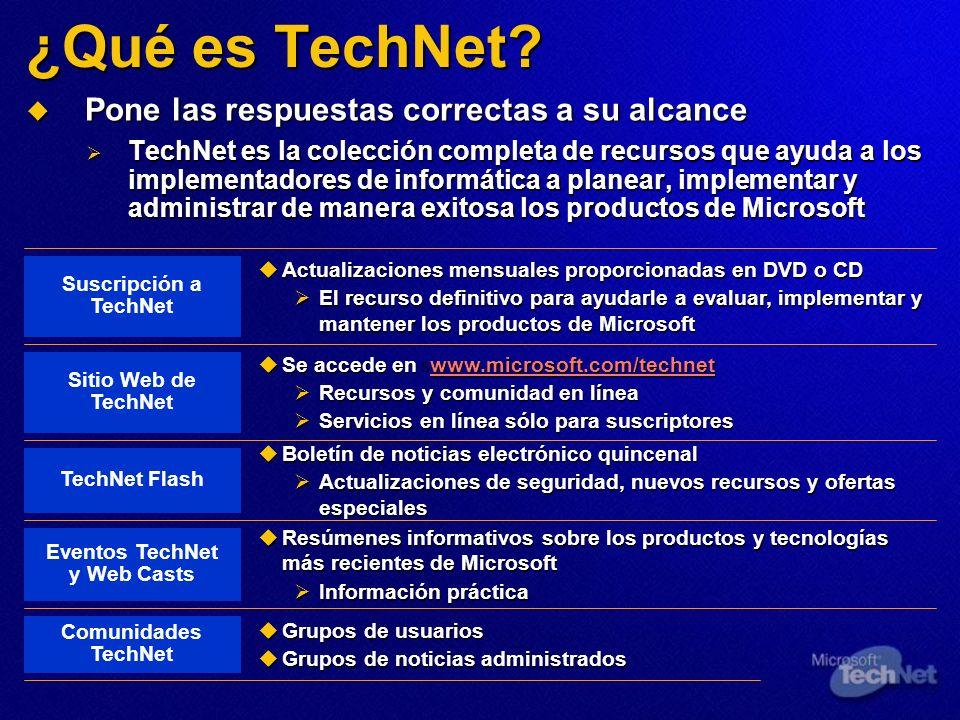 ¿Qué es TechNet? Pone las respuestas correctas a su alcance Pone las respuestas correctas a su alcance TechNet es la colección completa de recursos qu