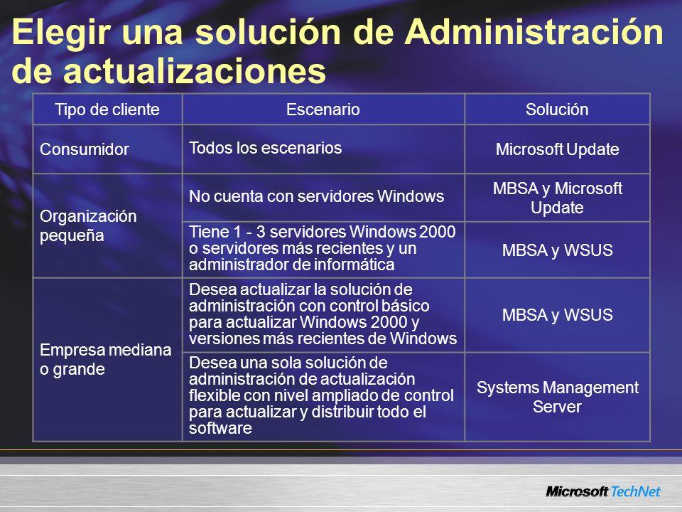 Elegir una solución de Administración de actualizaciones Tipo de clienteEscenarioSolución Consumidor Todos los escenarios Microsoft Update Organizació