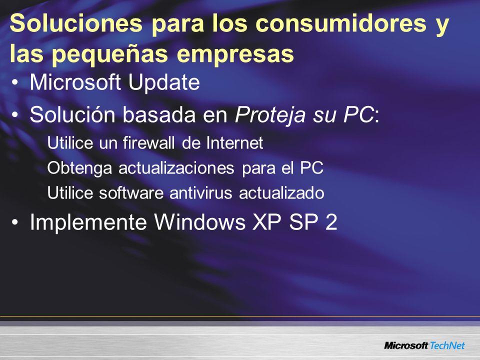 Soluciones para los consumidores y las pequeñas empresas Microsoft Update Solución basada en Proteja su PC: Utilice un firewall de Internet Obtenga ac