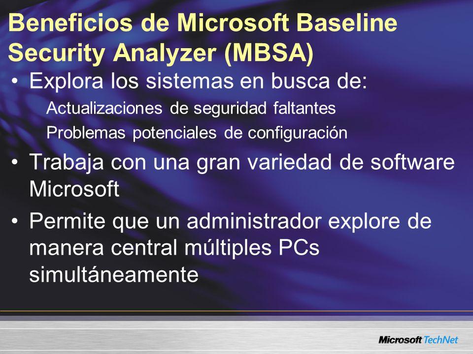 Beneficios de Microsoft Baseline Security Analyzer (MBSA) Explora los sistemas en busca de: Actualizaciones de seguridad faltantes Problemas potencial