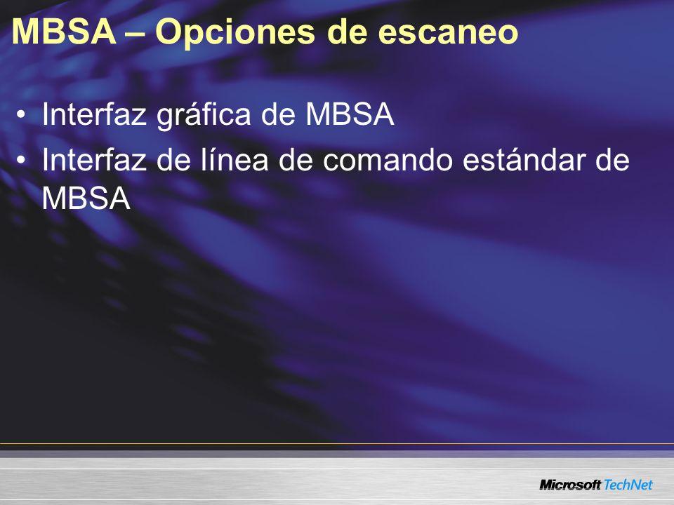 MBSA – Opciones de escaneo Interfaz gráfica de MBSA Interfaz de línea de comando estándar de MBSA