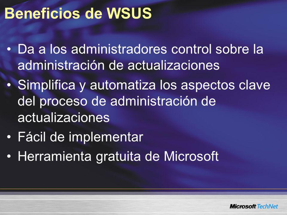 Beneficios de WSUS Da a los administradores control sobre la administración de actualizaciones Simplifica y automatiza los aspectos clave del proceso