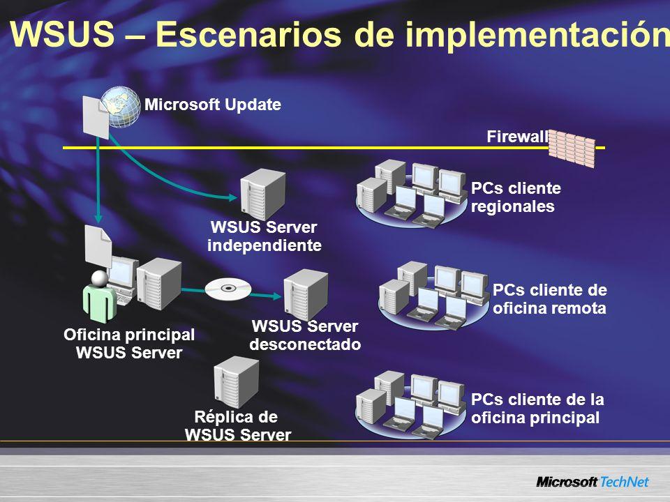 WSUS – Escenarios de implementación Oficina principal WSUS Server WSUS Server desconectado PCs cliente de oficina remota PCs cliente de la oficina pri