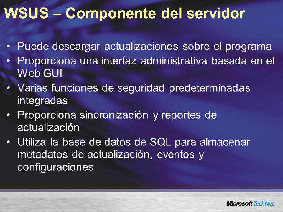 WSUS – Componente del servidor Puede descargar actualizaciones sobre el programa Proporciona una interfaz administrativa basada en el Web GUI Varias f