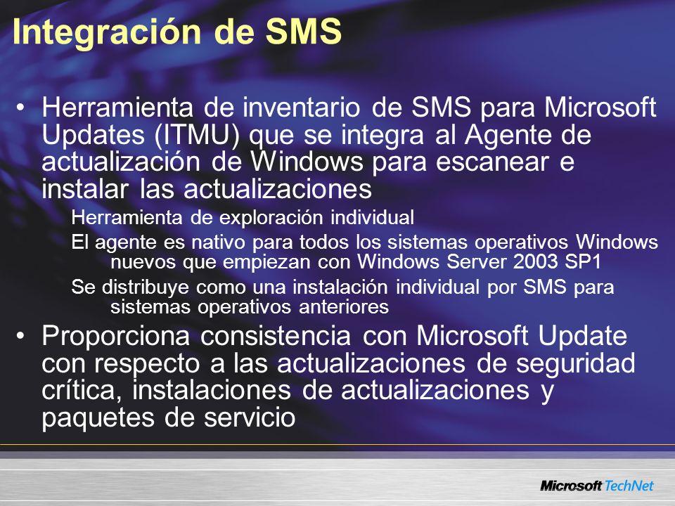 Integración de SMS Herramienta de inventario de SMS para Microsoft Updates (ITMU) que se integra al Agente de actualización de Windows para escanear e