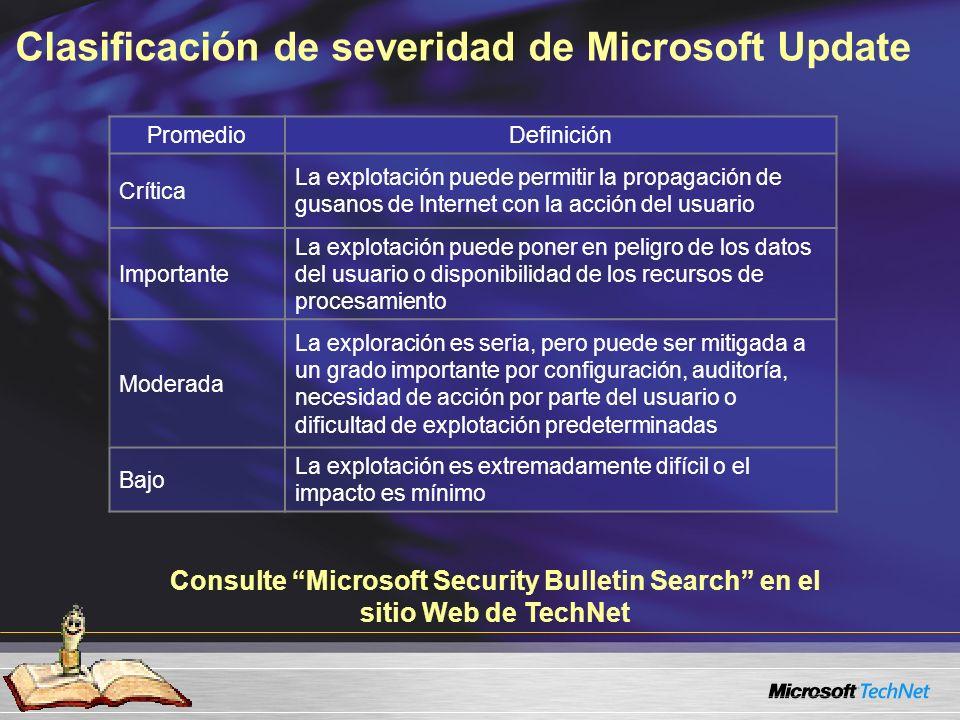 Beneficios de WSUS Da a los administradores control sobre la administración de actualizaciones Simplifica y automatiza los aspectos clave del proceso de administración de actualizaciones Fácil de implementar Herramienta gratuita de Microsoft