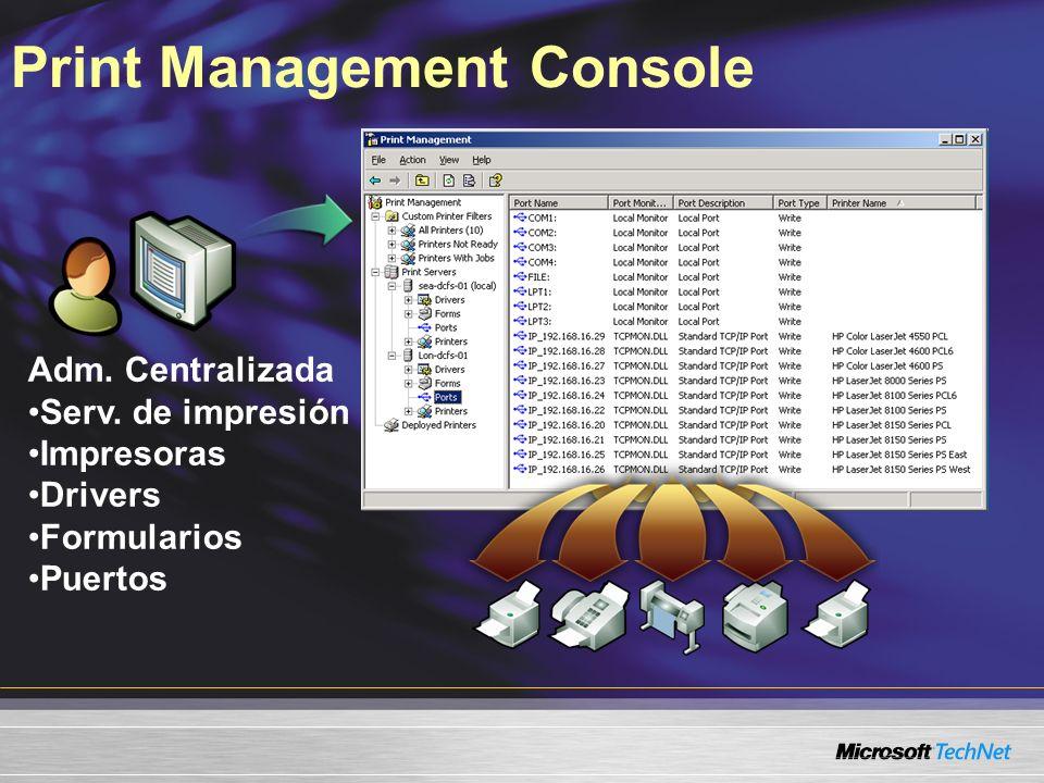 Print Management Console Adm. Centralizada Serv.