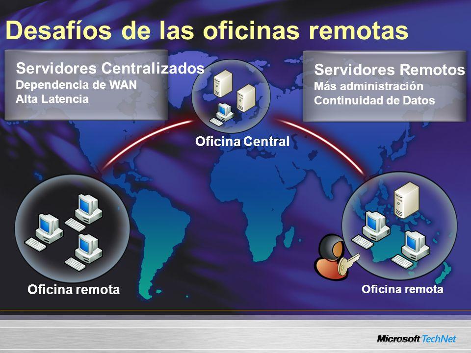 Desafíos de las oficinas remotas Oficina remota Oficina Central Servidores Centralizados Dependencia de WAN Alta Latencia Servidores Remotos Más administración Continuidad de Datos