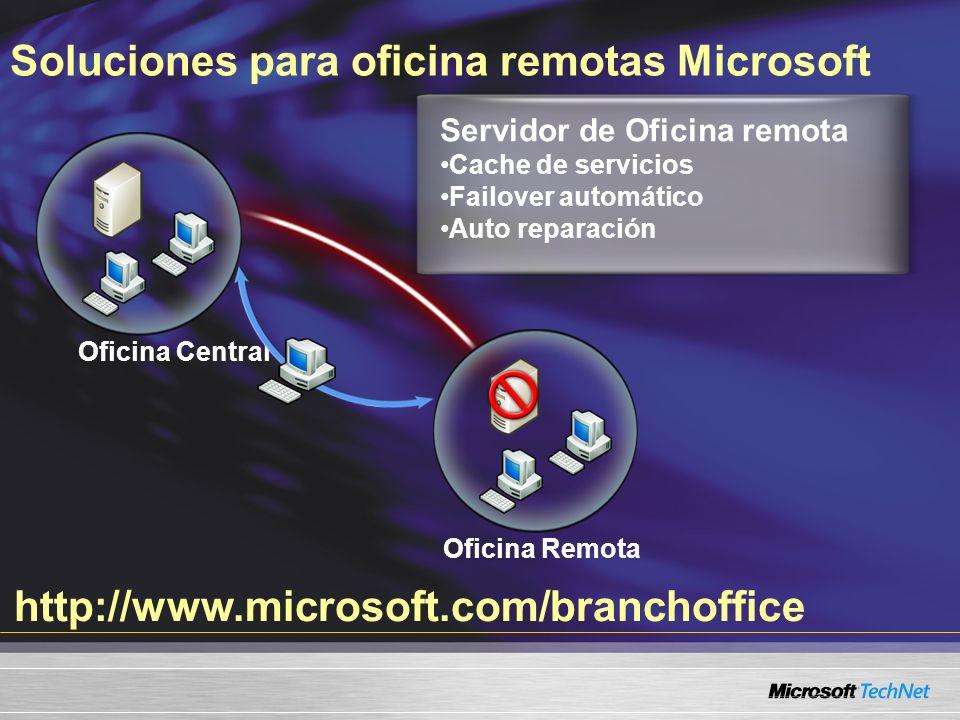 Soluciones para oficina remotas Microsoft Oficina Remota http://www.microsoft.com/branchoffice Oficina Central Servidor de Oficina remota Cache de servicios Failover automático Auto reparación