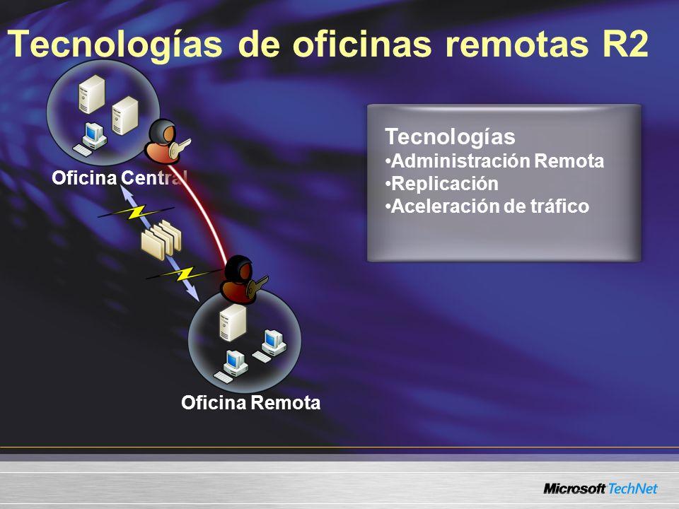 Tecnologías de oficinas remotas R2 Oficina Central Oficina Remota Tecnologías Administración Remota Replicación Aceleración de tráfico