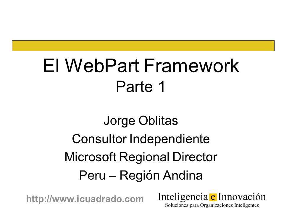 1 http://www.icuadrado.com Jorge Oblitas Consultor Independiente Microsoft Regional Director Peru – Región Andina El WebPart Framework Parte 1