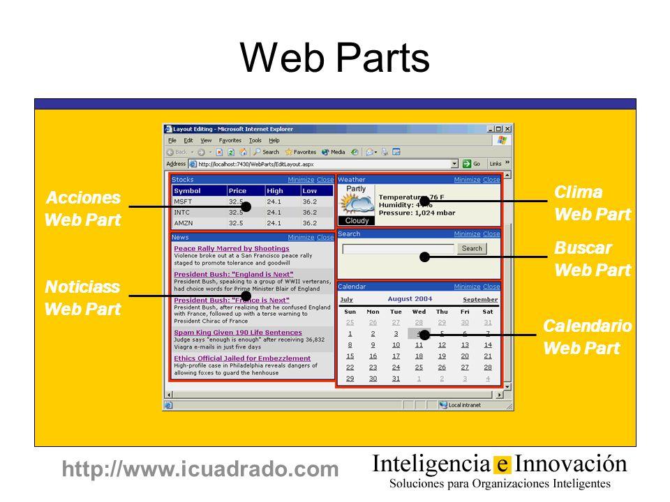http://www.icuadrado.com Web Parts Buscar Web Part Acciones Web Part Noticiass Web Part Clima Web Part Calendario Web Part
