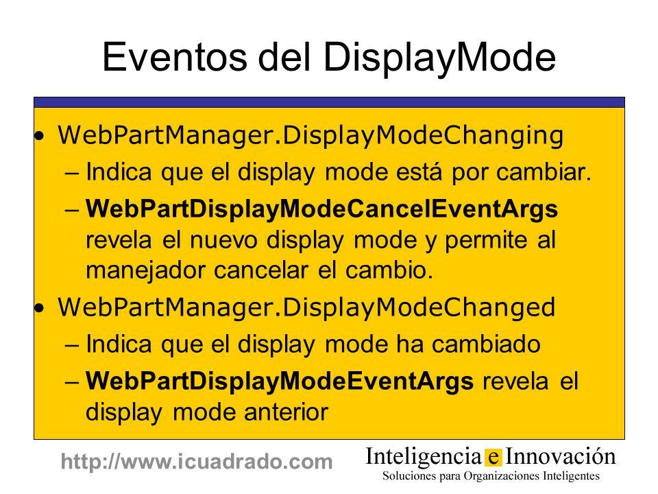 http://www.icuadrado.com Eventos del DisplayMode WebPartManager.DisplayModeChanging –Indica que el display mode está por cambiar. –WebPartDisplayModeC