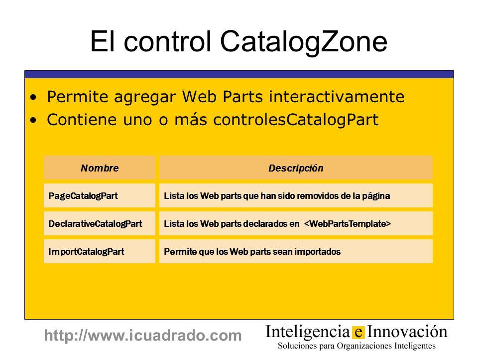 http://www.icuadrado.com El control CatalogZone Permite agregar Web Parts interactivamente Contiene uno o más controlesCatalogPart NombreDescripción D