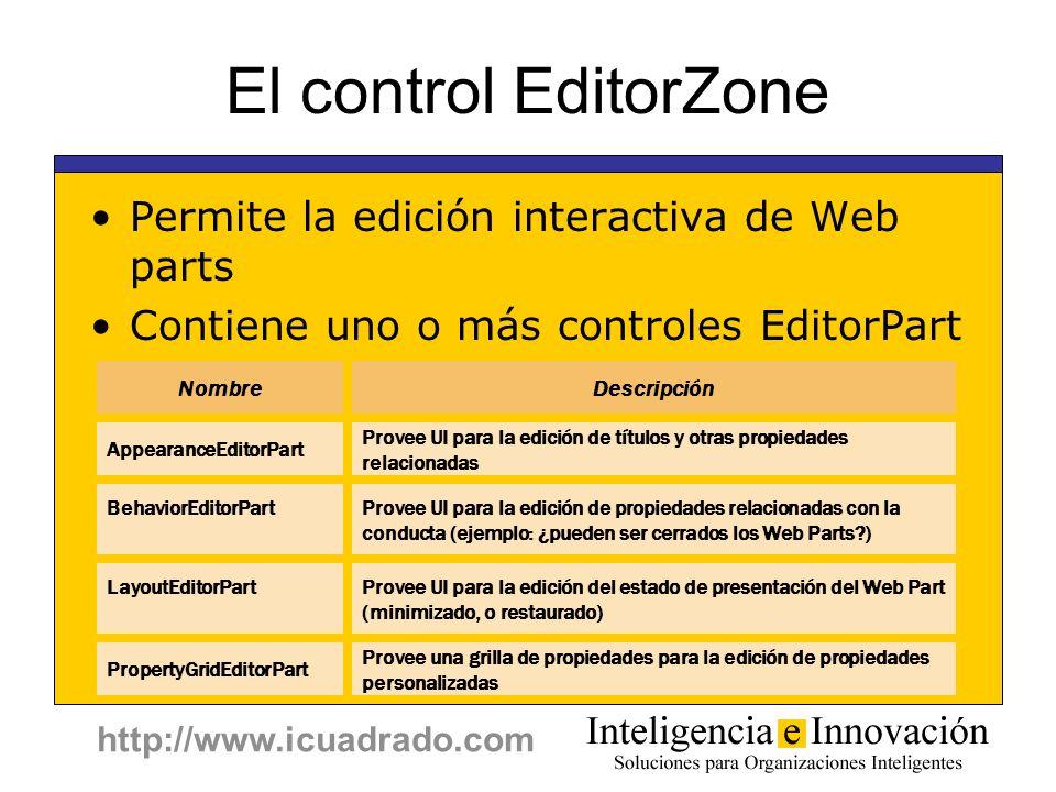 http://www.icuadrado.com El control EditorZone Permite la edición interactiva de Web parts Contiene uno o más controles EditorPart NombreDescripción A