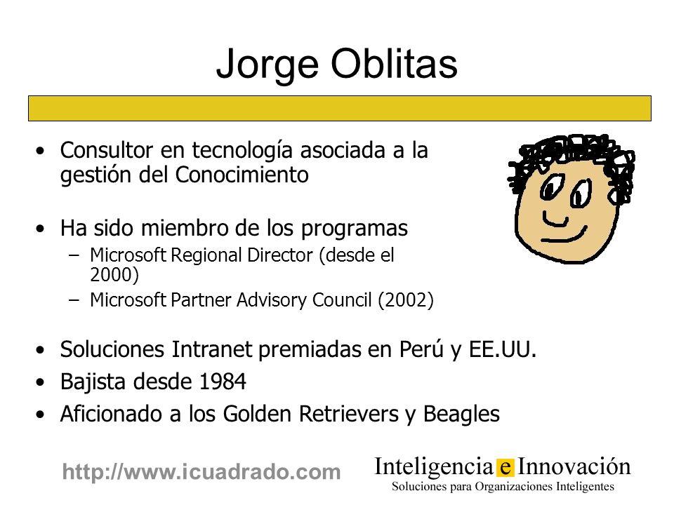 2 http://www.icuadrado.com Jorge Oblitas Consultor en tecnología asociada a la gestión del Conocimiento Ha sido miembro de los programas –Microsoft Re