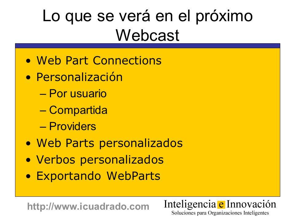 http://www.icuadrado.com Lo que se verá en el próximo Webcast Web Part Connections Personalización –Por usuario –Compartida –Providers Web Parts perso