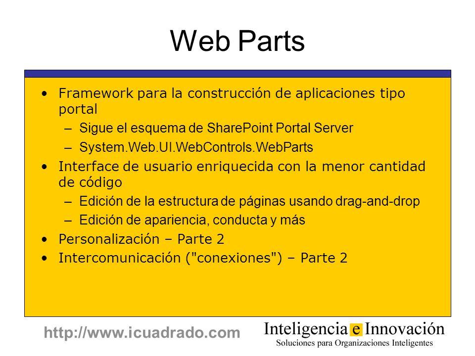 http://www.icuadrado.com Web Parts Framework para la construcción de aplicaciones tipo portal –Sigue el esquema de SharePoint Portal Server –System.We